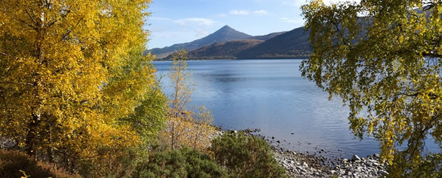 View of loch with Schiehallion in the distance